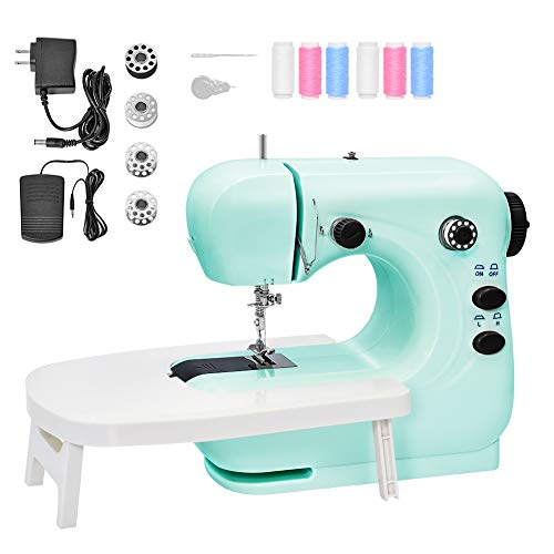 Mini Sewing Machine Portable Electric Sewing Machine for Beginners Lightweight Repairing Tailor Machine with Extension Table, Lighting Function, Foot Pedal, Bobbins, Threader (blue-with table)