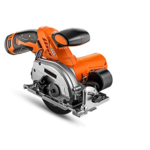 """12V Cordless Mini Circular Saw, Handheld, 0-45° Bevel Cut, Max Cutting Depth 1.05"""" (90°), 5/8"""" (45°) with 2×20T Blades, LED Light, Dust Blower, Auxiliary Handle, for Plywood Cutting - DES01A"""