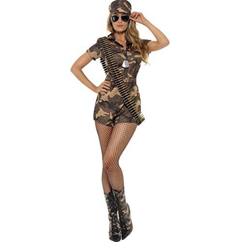 NET TOYS Figurbetontes Army Kostüm für Damen - Braun-Oliv L (42/44) - Verführerisches Damen-Outfit Soldatin - Perfekt geeignet für Mottoparty & Kostümfest