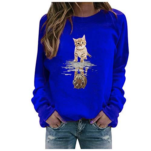 ReooLy Winter Tops Casuales para Mujer Sudadera con Estampado de Girasol para Mujer Blusa Camiseta Suéter(W-Azul,XL)