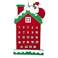 Casa di Natale con disegno di Babbo Natale e conto alla rovescia del calendario natalizio, ci sono 24 graziose tasche decorative per iniziare la felice festa. Questo calendario è realizzato in lino, feltro e tessuto di alta qualità, bello e confortev...