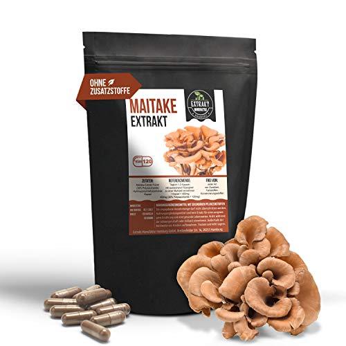 Maitake EXTRAKT | 30% Polysaccharide | 120 KAPSELN | Pilzextrakt ohne Zusatzstoffe – laborgeprüft | hochdosiert 100% vegan und in Deutschland hergestellt (Kapseln 120)