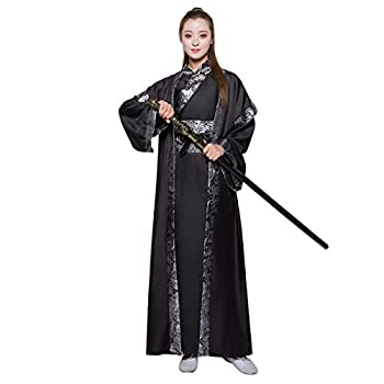 Traditional Chinese Hanfu Costume Ancient Han Dynasty Swordman Cosplay Outfit Adult Halloween Fancy Dress Stage Performance Wear  27# Black Height-69inch