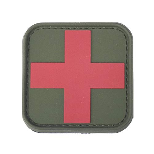 Medic Cross First Aid Morale Patch - Perfect for IFAK Rip Away Pouch, EMT, EMS, Trauma, Medical, Paramedic, First Response Rescue Kit, Tactical, Combat, Emergency, Blow Out, EDC Bag (OD Green-Red)