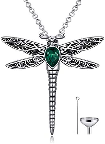 AOBOCO Dragonfly Urn Necklace for Ashes Sterling Silver Memorial Keepsake Cremation Jewelry product image