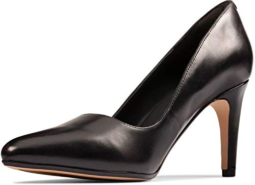 Clarks Women's Laina Rae 2 Pump, Black Leather, 9