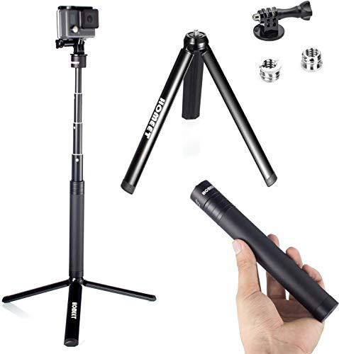 Bastone Selfie con Treppiede per GoPro, Homeet 2-in-1 Mini Treppiede Metallo da Tavolo Monopiede Asta Telescopico per Action Cam/Fotocamera/DSLR Fotoc