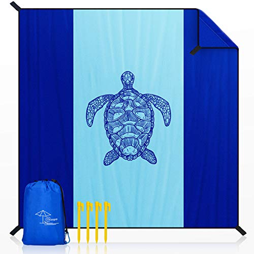 OCOOPA Beach Blanket Marine Life Series, 10'X 9' Extra Large, Soft and Durable Material, Sand Free Waterproof, Light Weight and Portable, Perfect for Travel Camping, Beach Vocation, Sea Turtle