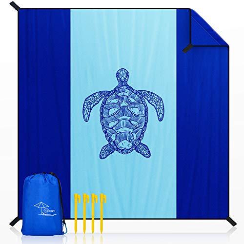 OCOOPA Stranddecke sandfrei XXL, 300x280cm Extra groß, Picknickdeck wasserdicht weiches und strapazierfähiges Meterial, leicht und tragbar, perfekt für Reisen, Camping, Strandurlaub, Meeresschildkröte