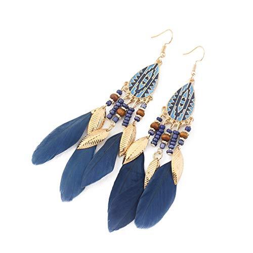 YAZILIND Bohemian Feather Fishhook Earrings Long Drop Dangle Earring Women Girls Valentine's day Gift Birthday Jewelry(Navy Blue)