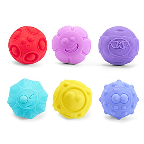 Bolas Sensoriales para Bebés Masaje Soft Ball,Juguetes Educativos de Compresión Suave,6 Piezas...