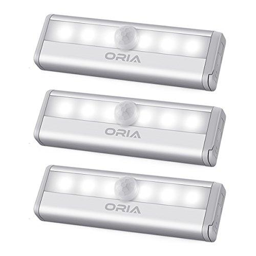 ORIA Schrankbeleuchtung Licht, 6 LEDs Bewegungsmelder Licht Sensor Schrank Licht, Auto EIN/AUS Led Beleuchtung Lampe, Treppen Licht Wandbeleuchtung Perfekt für Schubladen, Schuh Kabinett, Flur–Weiße