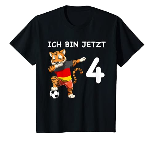 Kinder 4. Geburtstag Fußball Deutschland - 4 Jahre Junge Tiger T-Shirt