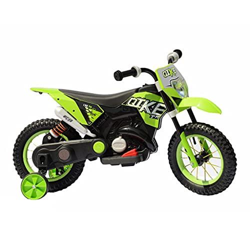 FP-TECH - MOTO ELETTRICA PER BAMBINI MOTOCICLETTA 2 POSTI CON USB MP3 LED SOSPENSIONI E RUOTE IN GOMMA AD ARIA (Verde)