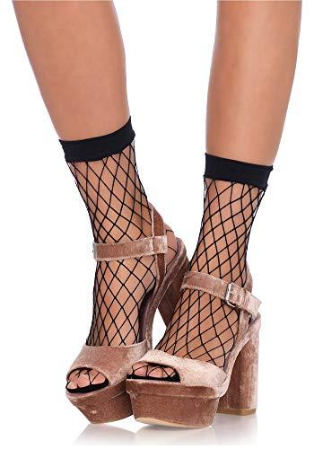 Leg Avenue Damen Paar Knöchelsocken grobe Netz Söckchen schwarz Einheitsgröße