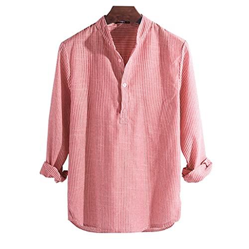 SLATIOM Camisas de algodón de manga larga para hombre Primavera Otoño Camisa de cuello alto a rayas Slim Fit...