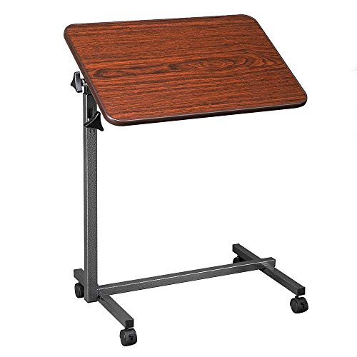 OMECAL Overbed Table w/Wheels, Adjustable Bedside Sofa Side Table Rolling Laptop Computer Desk Food Tray Table w/Tilting Top, for Home, Wood Grain