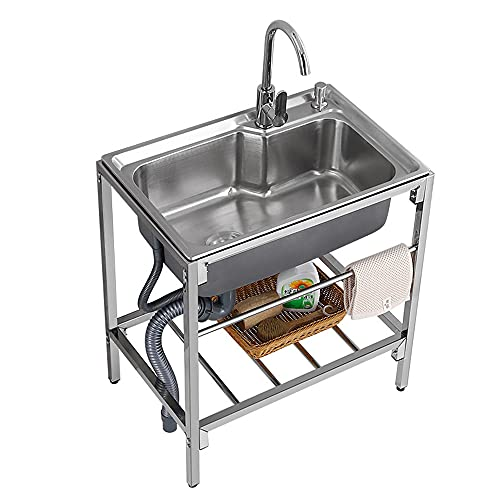 Free Standing Stainless Steel Single Bowl Commercial Kitchen Sink With Stand, Utility Sink For Garage Restaurant Kitchen Laundry Room Outdoor