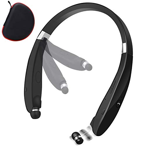 Bluetooth Foldable Retractable Headphones, 2020 Upgraded Wireless Earbuds Neckband Headset Sports Sweatproof Earphones with Carrying Case (15Hours Playtime) (Black)