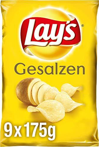 Lay's Gesalzen - Knusprig gesalzene Kartoffelchips für eine gelungene Party - 9 x 175g