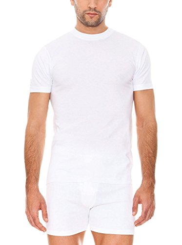 ABANDERADO Camiseta de algodón Manga Corta Cuello Redondo, Blanco, Tamaño Fabricante: L / 52 para Hombre
