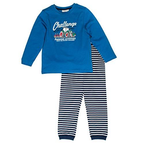 SALT AND PEPPER Jungen Pyjama Tractor Uni Challenge Zweiteiliger Schlafanzug, Blau (Blue 454), 128 (Herstellergröße: 128/134)