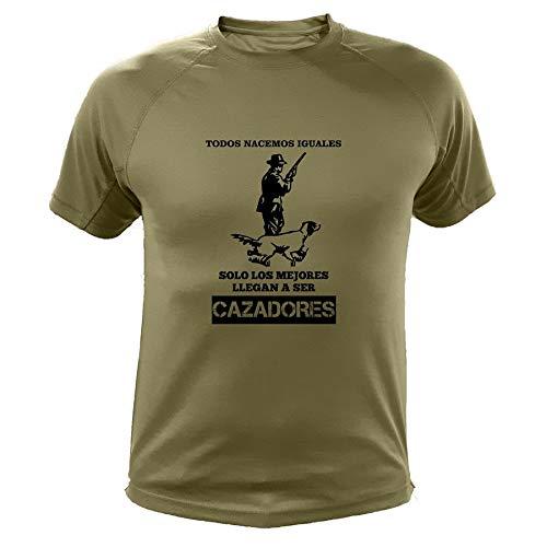 AtooDog Camisetas Personalizadas de Caza, Todos nacemos Iguales, Cazador - Ideas Regalos (30139, Verde, XXL)