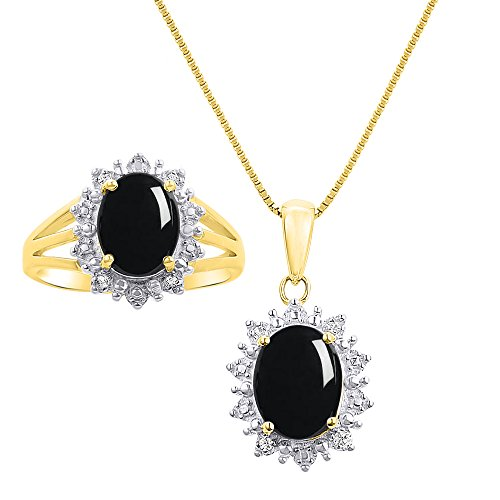 Diamond & Onyx - Juego de collar y anillo a juego en oro amarillo de 14 quilates con cadena de 45,7 cm – diseño de halo inspirado en la princesa Diana
