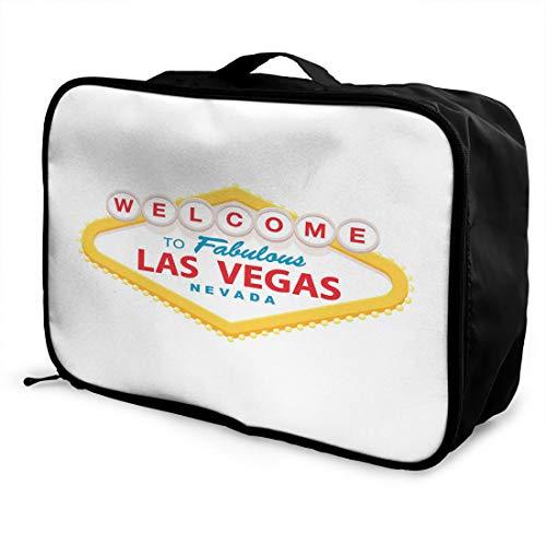 Emvency Travel Portable Foldable Duffel Bag Classic Retro Welcome Las Vegas Lightweight Waterproof Storage Carry Luggage Tote Bag for Women Men American Classic Club Duffel