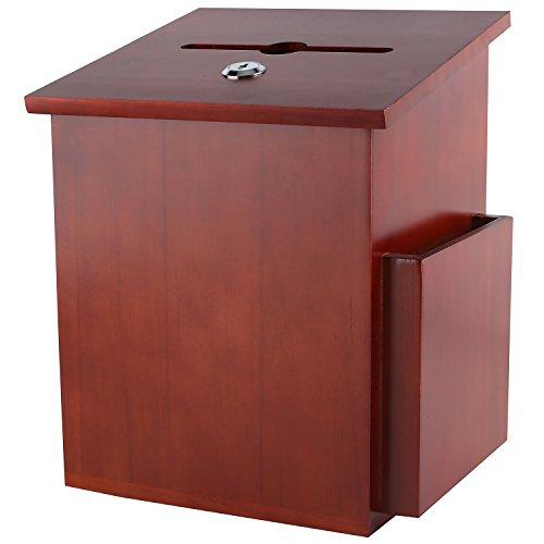 My Charity Boxes suggerimenti, scatola in legno, per ogni scrutinio, con tasca, chiusura coperchio incernierato e penna, per uso d'ufficio, in legno mogano scuro, 07