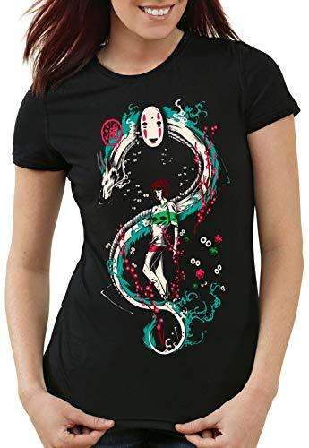style3 La Aventura de Chihiro Camiseta para Mujer T-Shirt Spirited Away sin Rostro, Talla:S