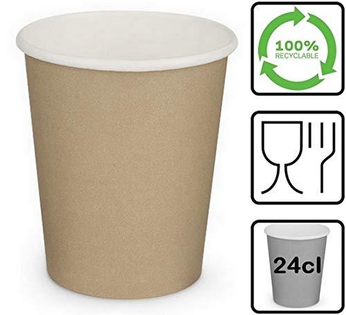 LE PETIT FOURNISSEUR | 500 Gobelets Carton Brun 24cl | 100% Recyclable | Boissons Chaudes ou Froides