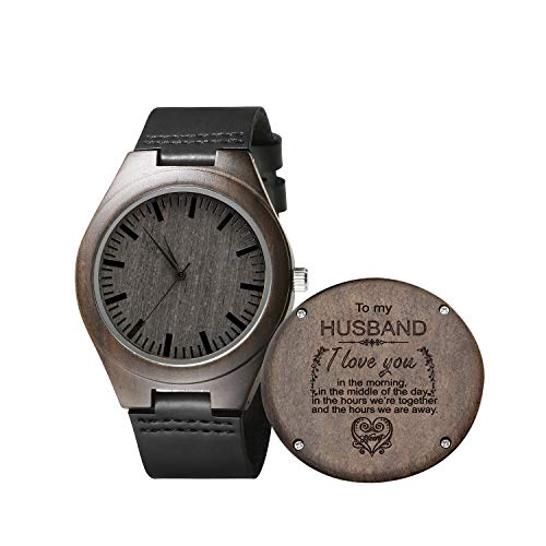 Engraved Wooden Watch for Men,Natural Wooden Groomsmen Watch for Husband...