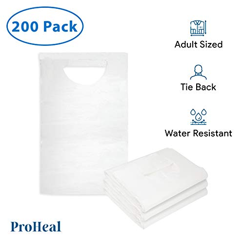 Disposable Adult Bibs, 200 Pack - Tie Back, 16' x 33' - Absorbent Tissue Front, Water Resistant Poly Backing - Clothing Protectors for Eating, Dental Apron, Senior Citizens, Babies - ProHeal