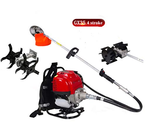 New CHIKURA Gx35 Backpack 4 Stroke 3 in1 Brush Cutter Tiller Grass Hedge Trimmer Cultivator Weeder