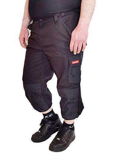 Weichers 3/4 Piratenhose mit verstärkten Nähte 340 g/m² Herren Cargo Kurze Arbeitshose Montagehose Sicherheitshose Schutzhose Arbeitsschutzbekleidung mit Kniepolstertaschen (62, Schwarz 000D)