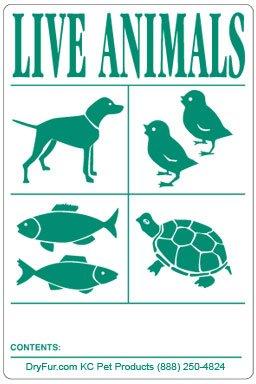 DryFur IATA Live Animal Species Labels 6pk