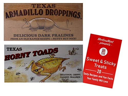Texas Armadillo Droppings Delicious Dark Pecan Pralines and Texas Horny Toads Chewy Cashew Pralines Novelty Gift Box Plus Recipe Booklet Bundle - 6 Ounces each