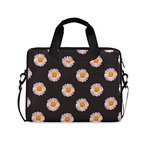 Laptop Cases for Women Girls Laptop Bag 15.6 Inch Briefcase Tablet Shoulder Bag Carrying Case, Seamless Daisies,Black