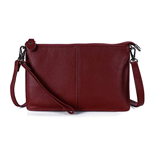Befen Women's Smartphone Leather Wristlet Crossbody Wallet Clutch with Shoulder Strap/Wrist Strap - Jester Red