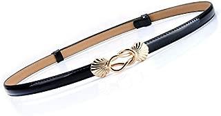 SGJFZD New Ladies Fashionable Leather Thin Belt Dress Shirt Pull Adjustment Fine Belt Paint Leather Waist Chain (Color : Black)
