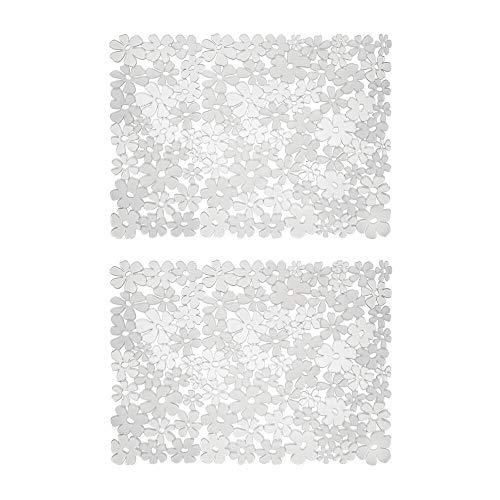mDesign Set da 2 Tappetini per il lavandino della cucina – Tappetino protettivo in PVC – Tappetino lavello per stoviglie e posate con motivo a fiori (grande) – trasparente