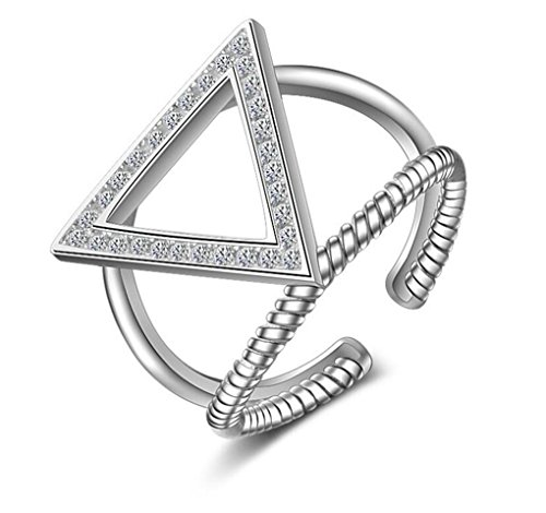 Wunhope Damen Ringe 925er Sterling Silber Dreieck mit Zirkonia Einfache Verstellbar Siegelring Ring
