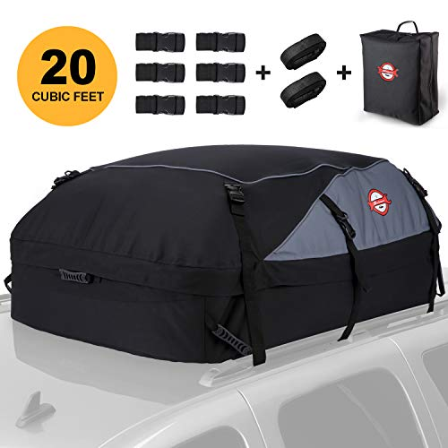 Car Roof Bag Cargo Carrier, 20 Cubic Feet Waterproof Rooftop Luggage Bag Vehicle Softshell Carriers with 8 Reinforced Straps and Storage Carrying Bag for All Vehicle with/Without Rack