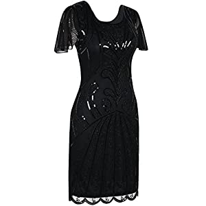 PrettyGuide Women's Flapper Dress 1920s Vintage Bead Deco Inspired Cocktail Gatsby Dress XL Gold