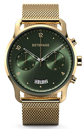 DETOMASO SORPASSO - Reloj de pulsera analógico para hombre con cronógrafo, color dorado y verde