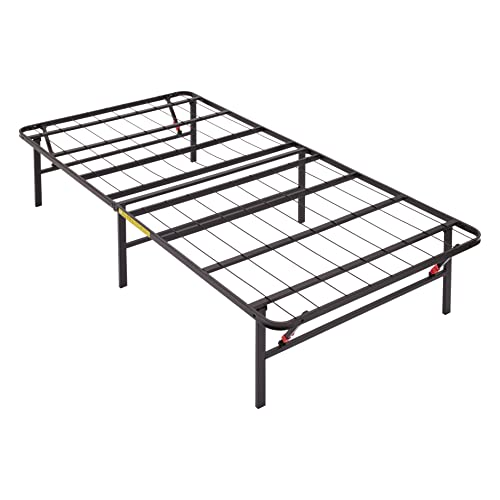 Amazon Basics Foldable, 14' Black Metal Platform Bed Frame with Tool-Free Assembly, No Box Spring Needed - Twin