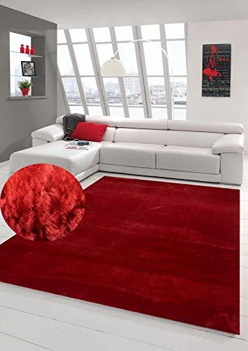 Teppich-Traum Alfombra Shaggy Alfombra de la Sala Alfombra de Dormitorio Flokati en Rojo Größe 150x230 cm