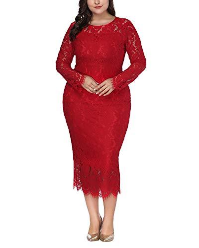 DianShaoA Vestido Encaje Mujer De Fiesta Largos Talla Grande Vestido De Noche Novia Boda Faldas