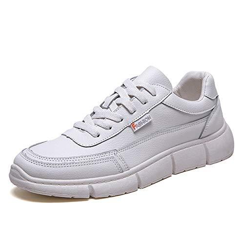 BBTK Moda atlética Zapatos de la Tabla de Deportes para los Hombres Zapatillas de Deporte Casuales con Cordones de Cuero de Microfibra Correr Gimnasio Jogging Trainer